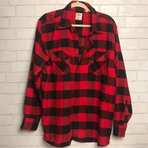 Plaid Flannel Shirt Red Black XL PL Mark